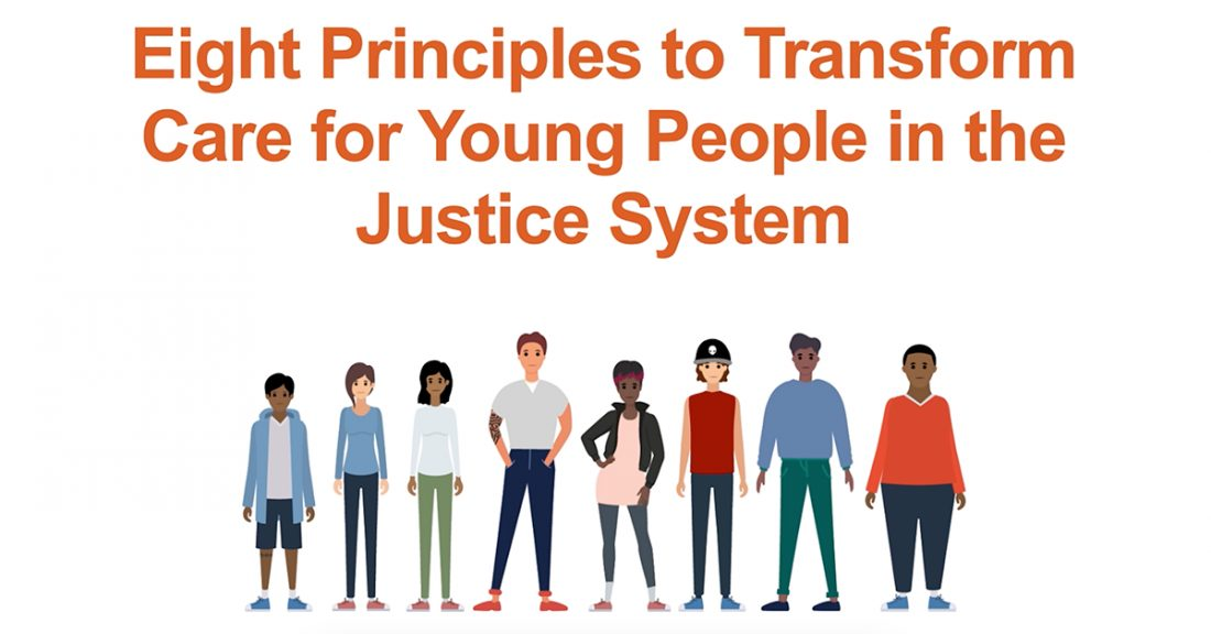 """A graphic depicting a diverse group, with the heading """"Eight Principles to Transform Care for Young People in the Justice System"""