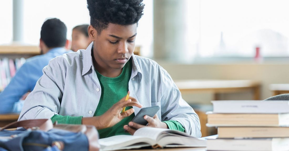 A student works through an assignment.