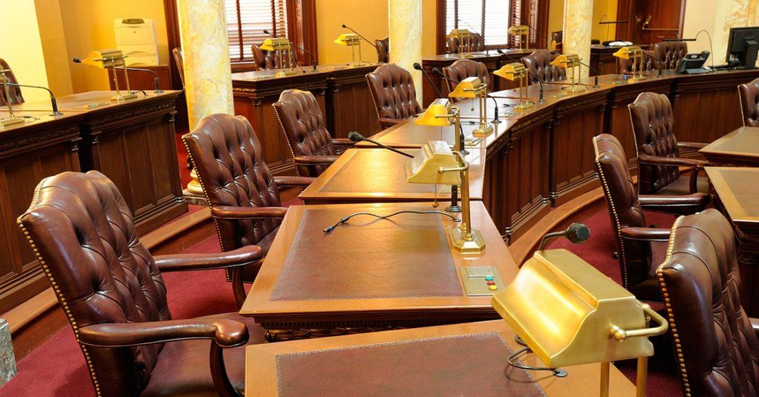 Empty legislative chamber