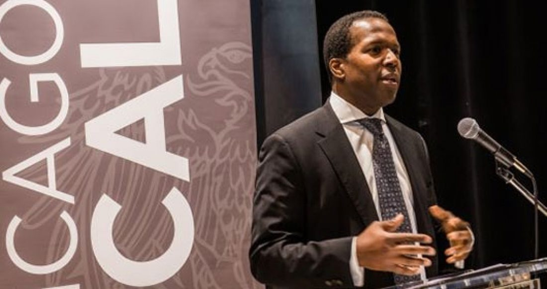 Derek Douglas from the University of Chicago talking at a UChicago Local event.