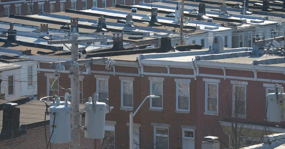 Blocks of row homes in a Baltimore neighborhood