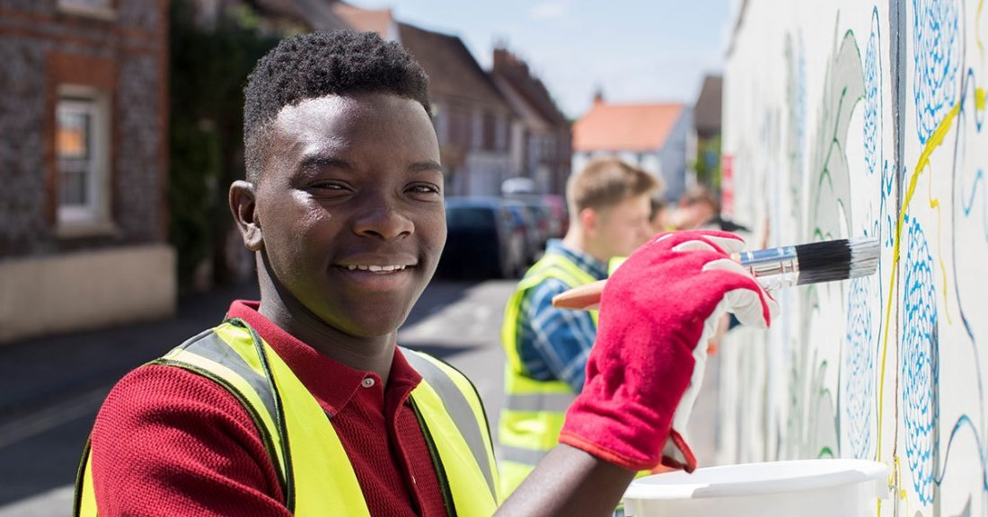 Young person volunteering in the community