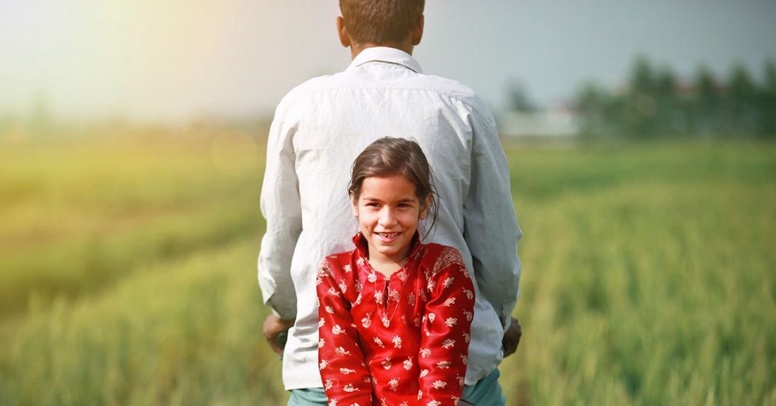 Young girl with father