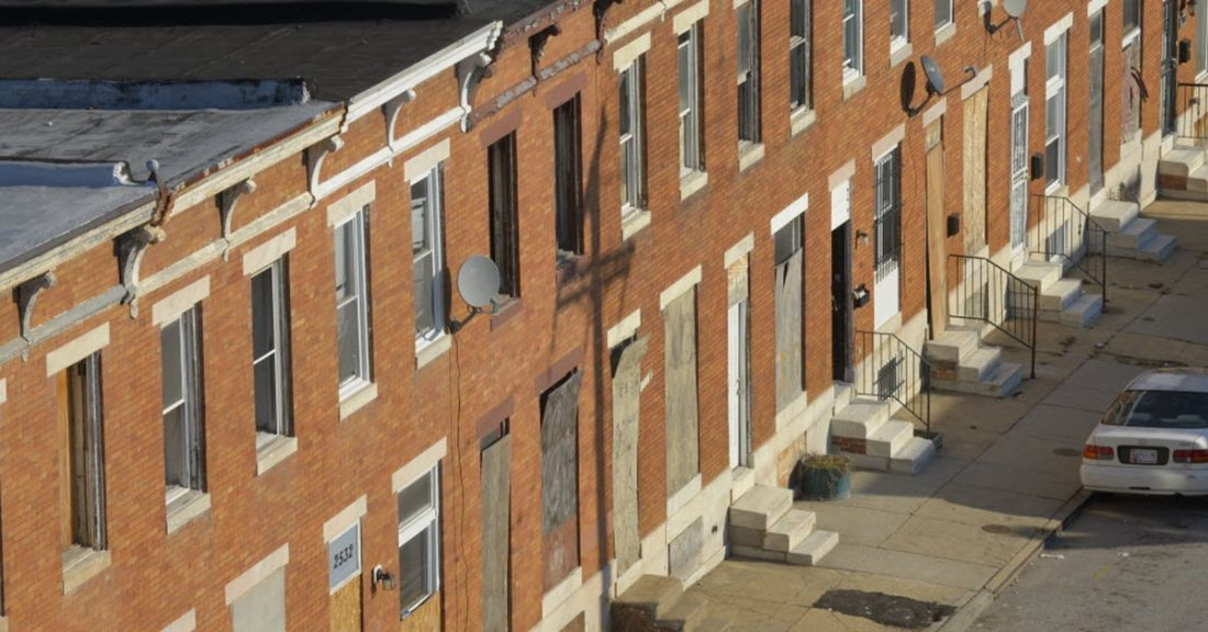 A city block in Baltimore