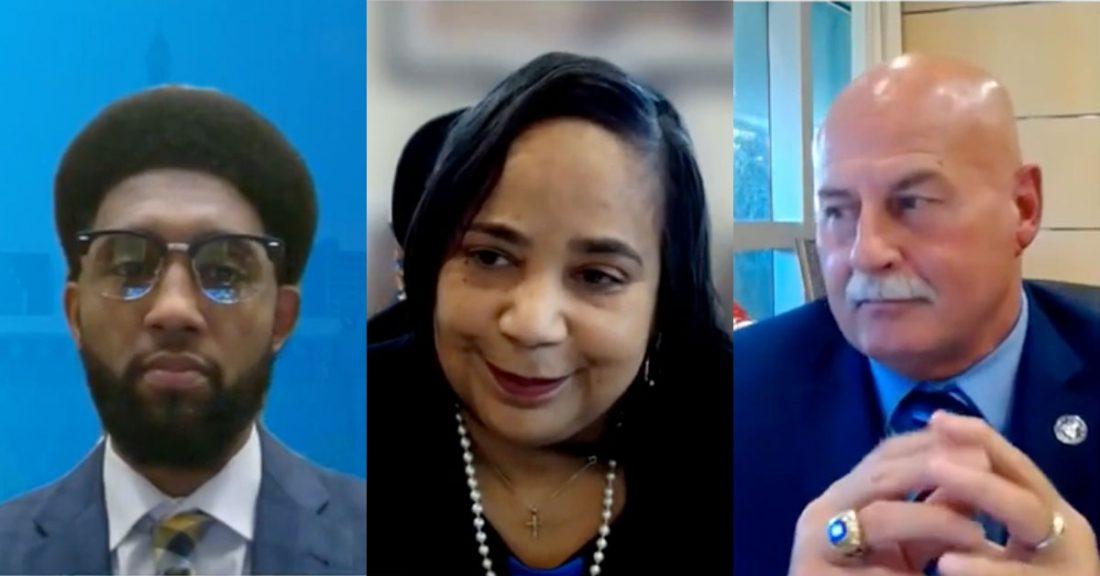 Mayors Brandon Scott of Baltimore, Jerry Dyer of Fresno, California, and Victoria Woodards of Tacoma, Washington