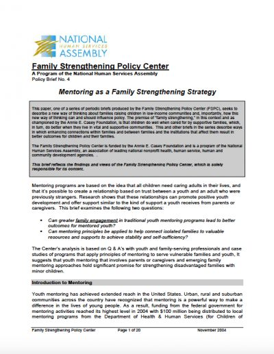 AECF 2004 Mentoring as Family Strengthening Strategy