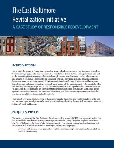 AECF 2010 East Baltimore Revitalization