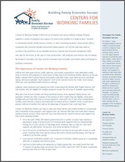 AECF BFES Centersfor Working Families 2005 cover