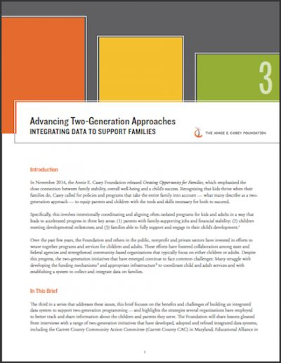 Cover image of report on advancing two-generation approaches.