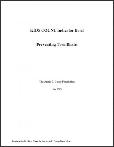 AECF Kids Count Indicator Brief Preventing Teen Births 2003 cover
