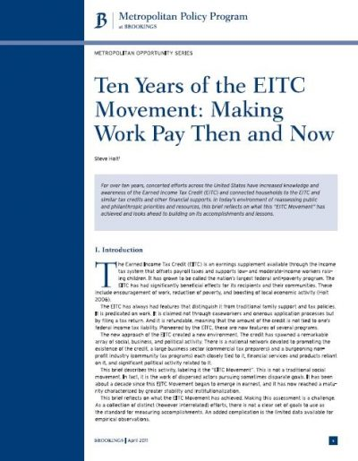 AECF Ten Years Of The EITC Movement 2011 Cover