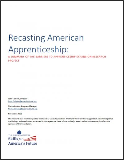 AI Recasting American Apprenticeship 2015 cover