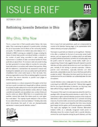 CDF Rethinking Juvenile Detentionin OH 2010 cover