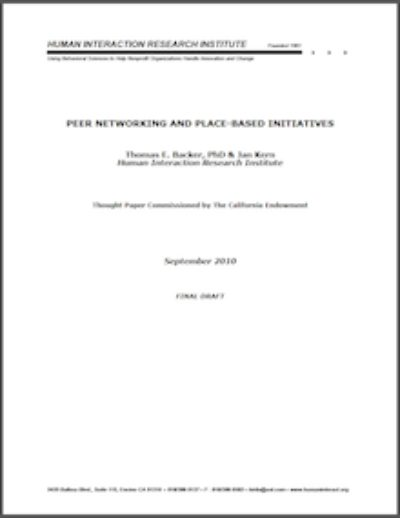 HIRI Peer Networkingand Place Based 2010 cover
