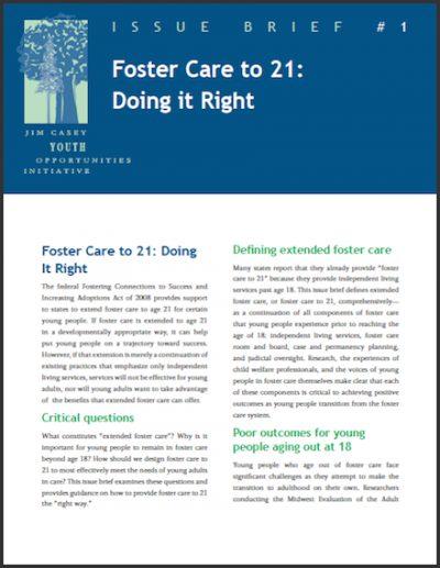 JCYOI Foster Careto21 Doingit Right 2011 cover