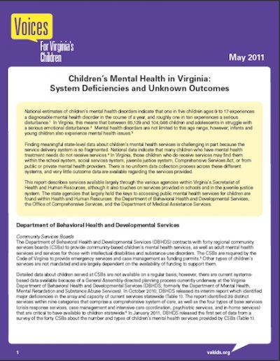 VVC Childrens Mental Healthin Virginia 2011 cover