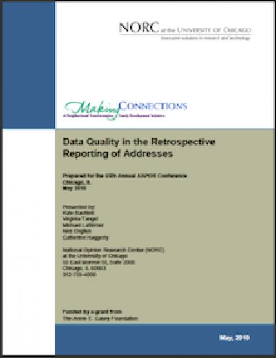 NORC Data Qualityinthe Retrospective Reporting 2010 cover