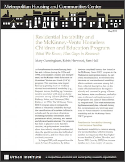 UI Residential Instabilityandthe Mi Kinney Vento Homeless 2010 cover