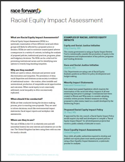 RF Racial Equity Impact Assessment 2009 cover