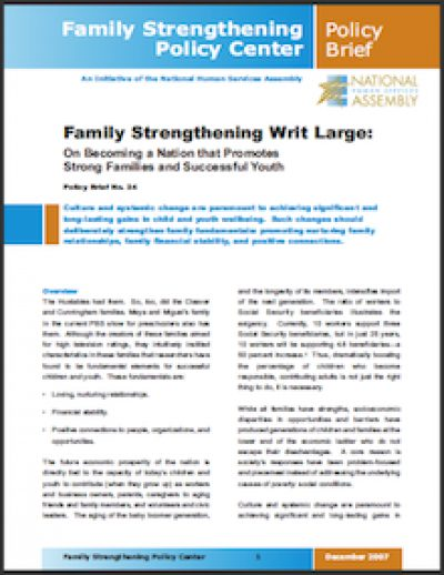 NHSA Family Strengthening Writ Large 2007 cover