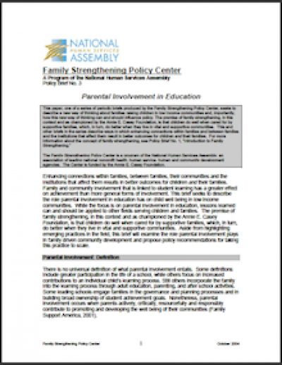 NHSA Parental Involvementin Education 2004 cover