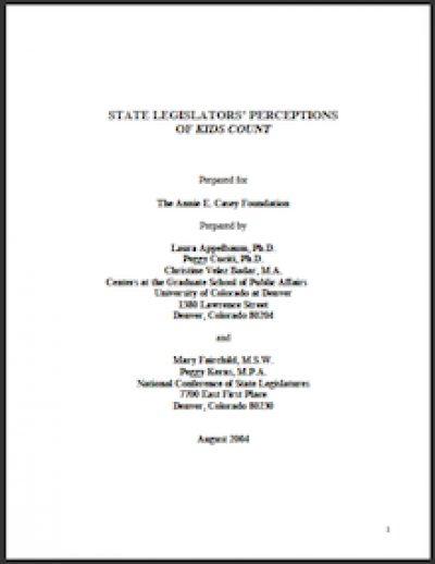NCSL State Legislators Perceptionsof KIDSCOUNT 2004 cover