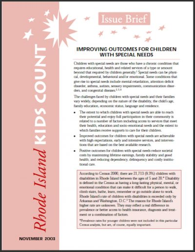 RIKC Improving Outcomesfor Childrenwith Special Needs 2003 cover