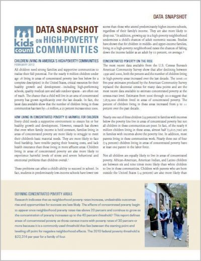 AECF Children Living In High Poverty Communities 2012 Cover2