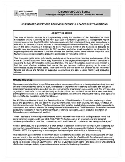 AECF Helping Orgs Achieve Successful Leadership Transitions 2009 pdf 1