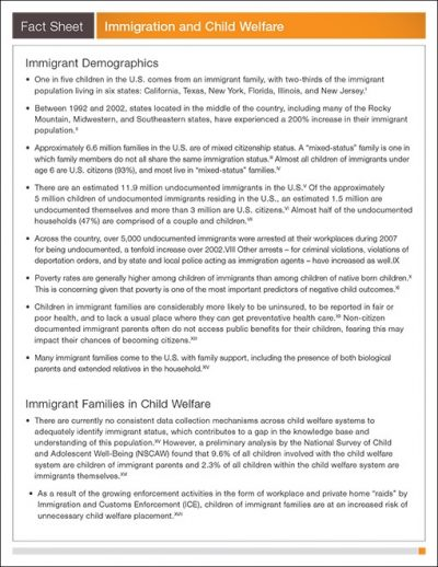 AECF Immigration And Child Welfare Fact Sheet 2009 pdf 1