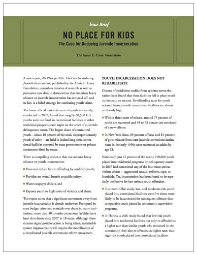 AECF No Place For Kids Issue Brief 2011 Full Cover1
