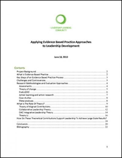 LLC Applying Evidence Based Practice Approachesto Leadership Development Thumb 2010