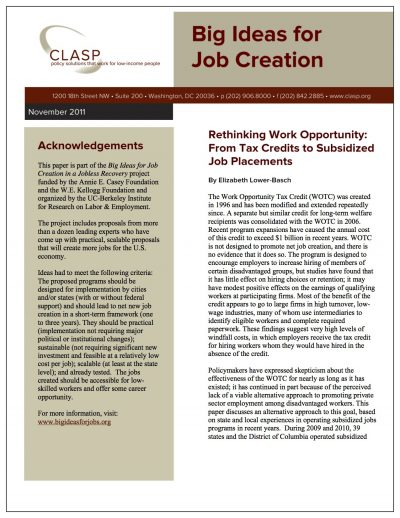 Aecf Big Ideasfor Job Creation Rethinking Work Opportunity Cover1