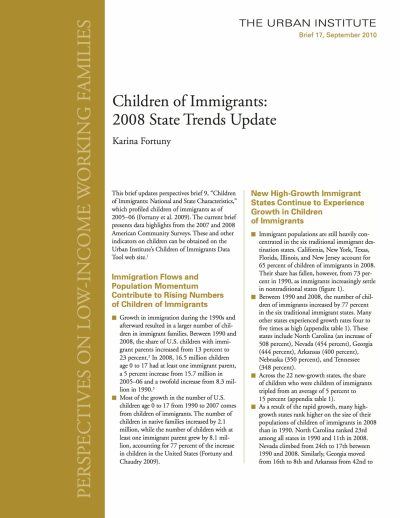 Aecf Children Immigrants2008 State Trends Update cover