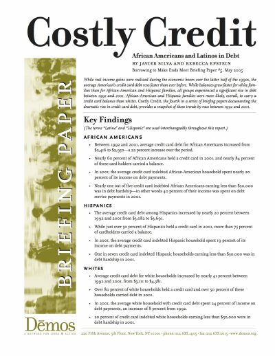 Aecf Costly Credit African Americans Latinos Debt cover