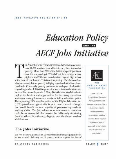 Aecf Education Policy The Jobs Initiative Part Three cover