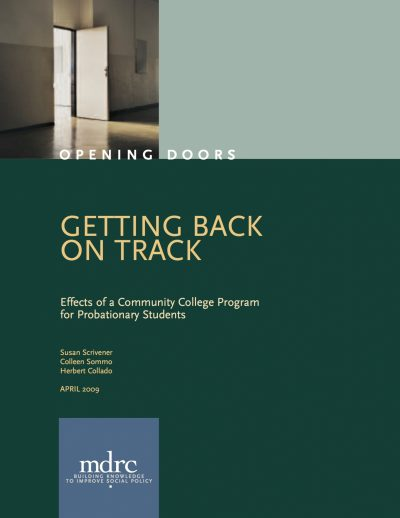 Aecf Getting Back Track Effects Community College Program Probationary Students Full Report cover