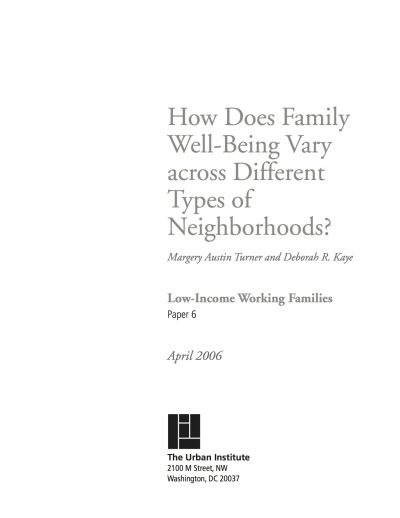 Aecf How Does Family Well Being Vary Across Different Types Neighborhoods cover