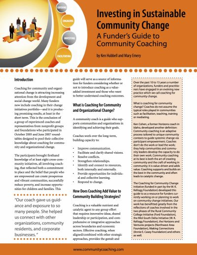 Aecf Investing Sustainable Community Change Funder Guide Community Coaching cover