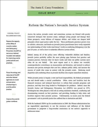 Aecf Issue Brief Juvenile Justice Reform 2009 pdf 1