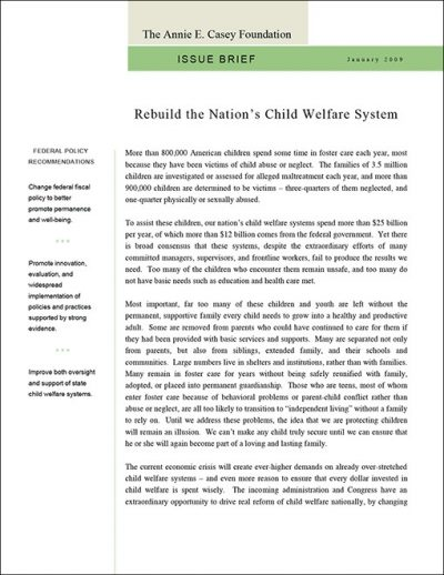 Aecf Issue Brief Rebuild Child Welfare System 2009 pdf 1