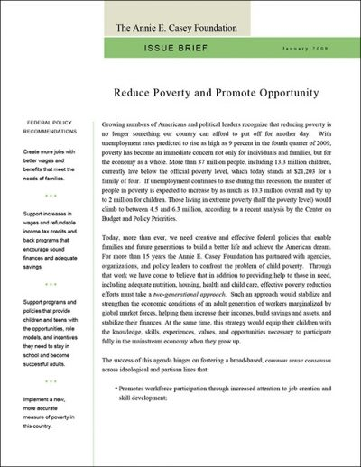 Aecf Issue Brief Reduce Poverty 2009 pdf 1