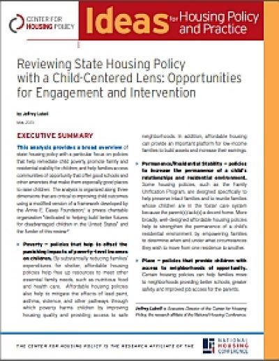 Aecf Reviewing State Housing Policy 2013