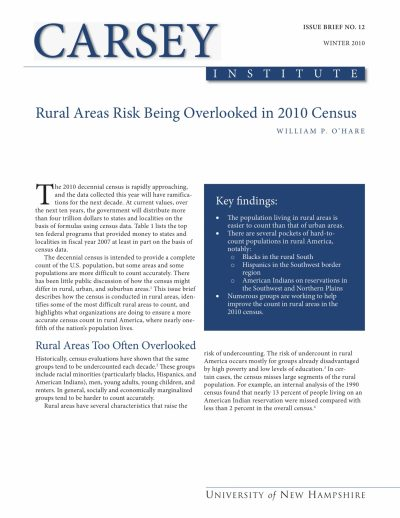 Aecf Rural Areas Risk Being Overlooked2010 Census cover
