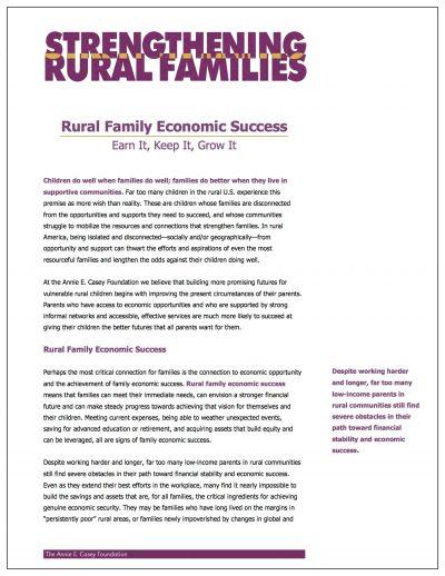 Aecf Rural Family Economic Success 2006 Cover 1