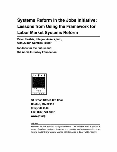 Aecf Systems Reform Jobs Initiative Lessons From Using Framework For Labor Market Systems Reform cover