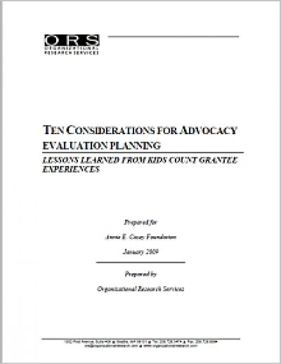 Aecf Ten Considerationsfor Advocacy Planning cover