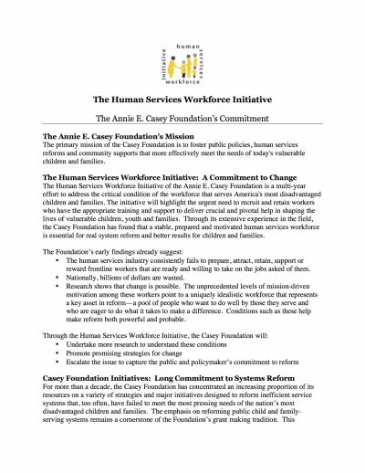 Aecf The Human Services Workforce Initiative Annie E Casey Foundation Commitment cover