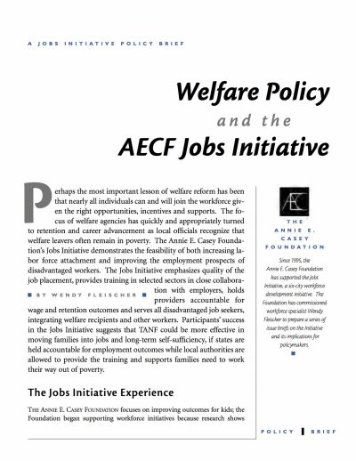 Aecf The Jobs Initiative And Welfare Policy cover