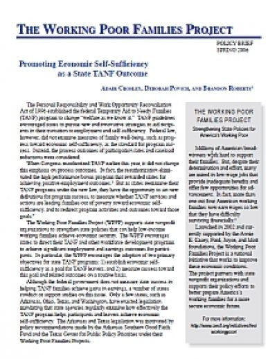 Aecf WPFP Promoting Econ Self Sufficiency State TANF cover